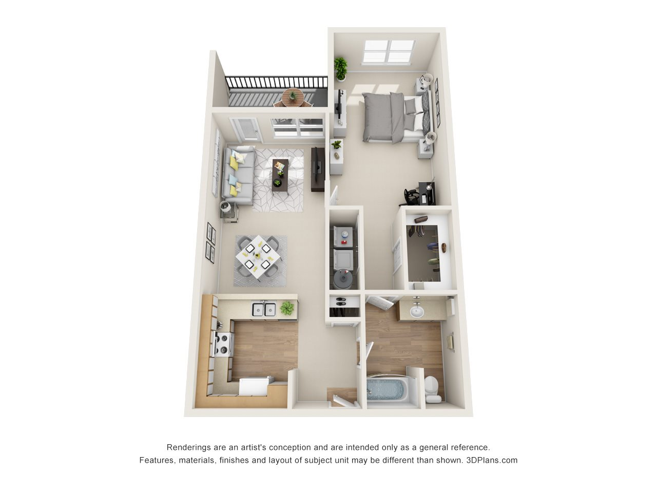 Evergreen / Cedar (1BR, 1BA) Floor Plan 1